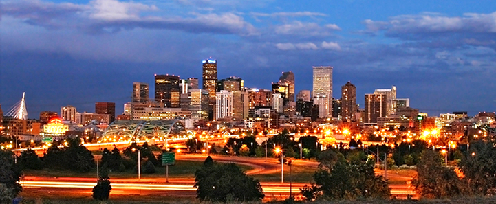 Denver skyline at night